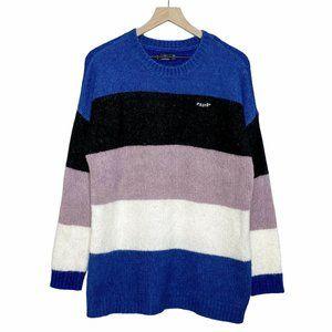 Volcom Striped Blue Crewneck Oversized Sweater